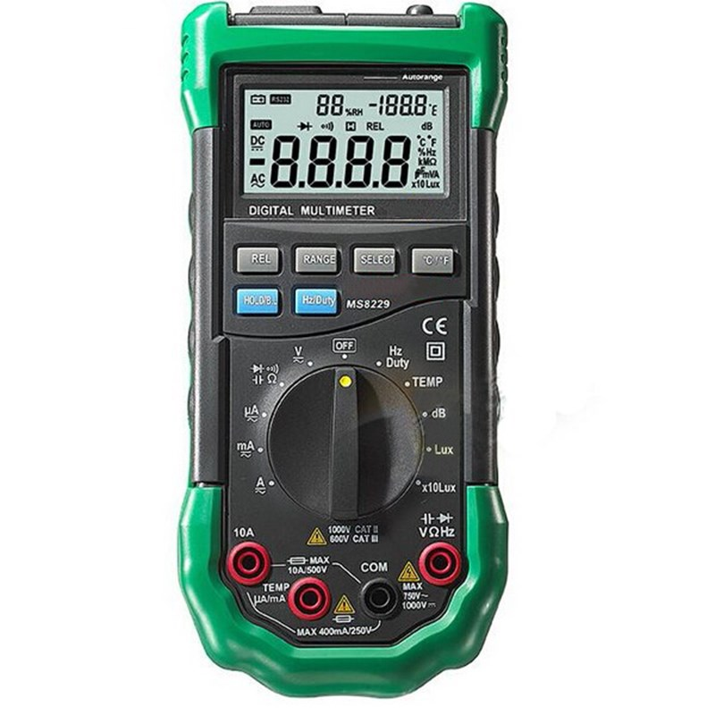 MS8229 5 in 1 Auto-Range Digital Multimeter With Multi-function Lux Sound Level Temperature Humidity Tester Meter w/Back light sanwa button and joystick use in video game console with multi games 520 in 1