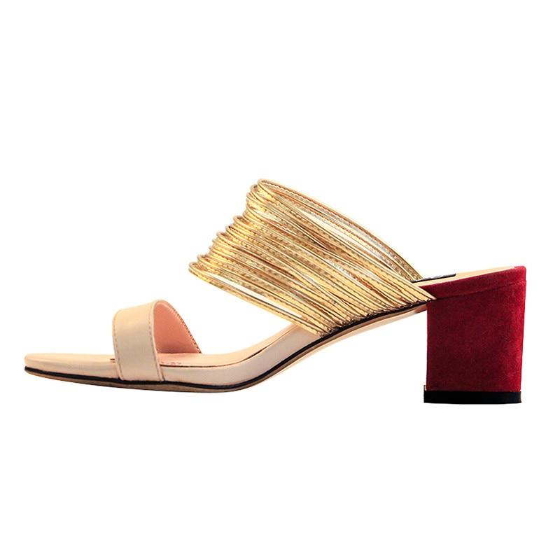 Onlymaker المرأة كتلة الكعب البغال مفتوحة اصبع القدم مكتنزة منتصف كعب Strappy و صندل التباين اللون شبشب أحذية US12-في كعب عالي من أحذية على  مجموعة 3