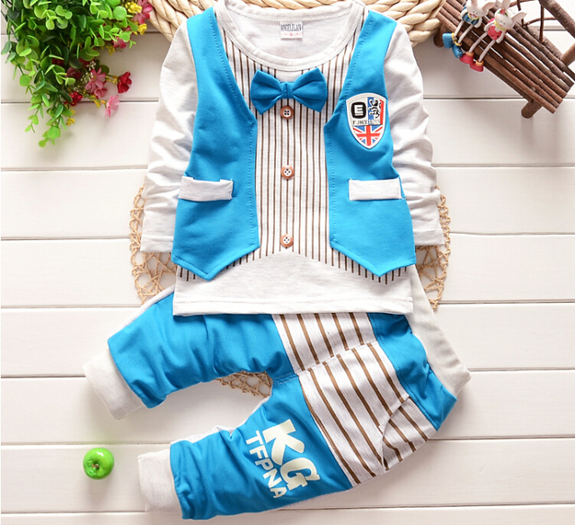 2015 New Baby boys Clothing Sets Children Gentleman Suit Baby Boy long-sleeve T-shirt+Pants 2pcs Kids Clothes Set for 0-3 age