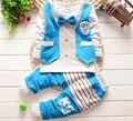 2015 New Baby meninos Roupas Define Crianças Terno Cavalheiro Baby Boy da longo-luva T-shirt + Calças 2 pcs Crianças Roupa Set para 0-3 anos de idade