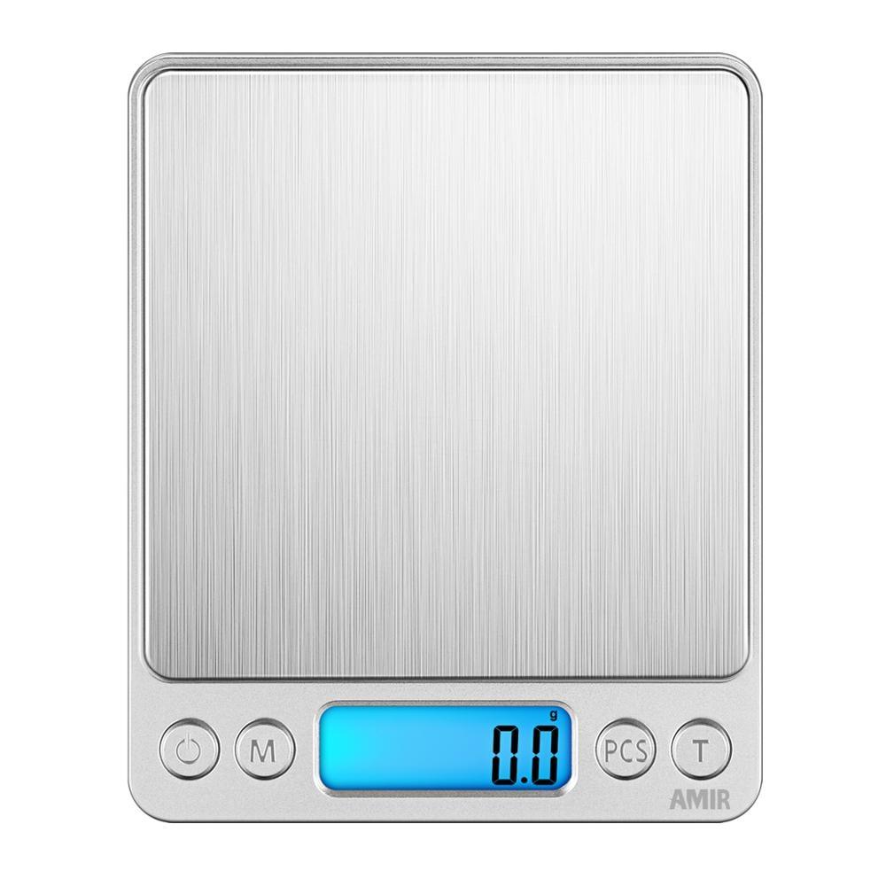 Praktisch Amir Digitale Keukenweegschaal 3 Kg/0.1g Mini Pocket Koken Voedsel Schalen Rvs Sieraden Schaal Met Back -lit Lcd Display