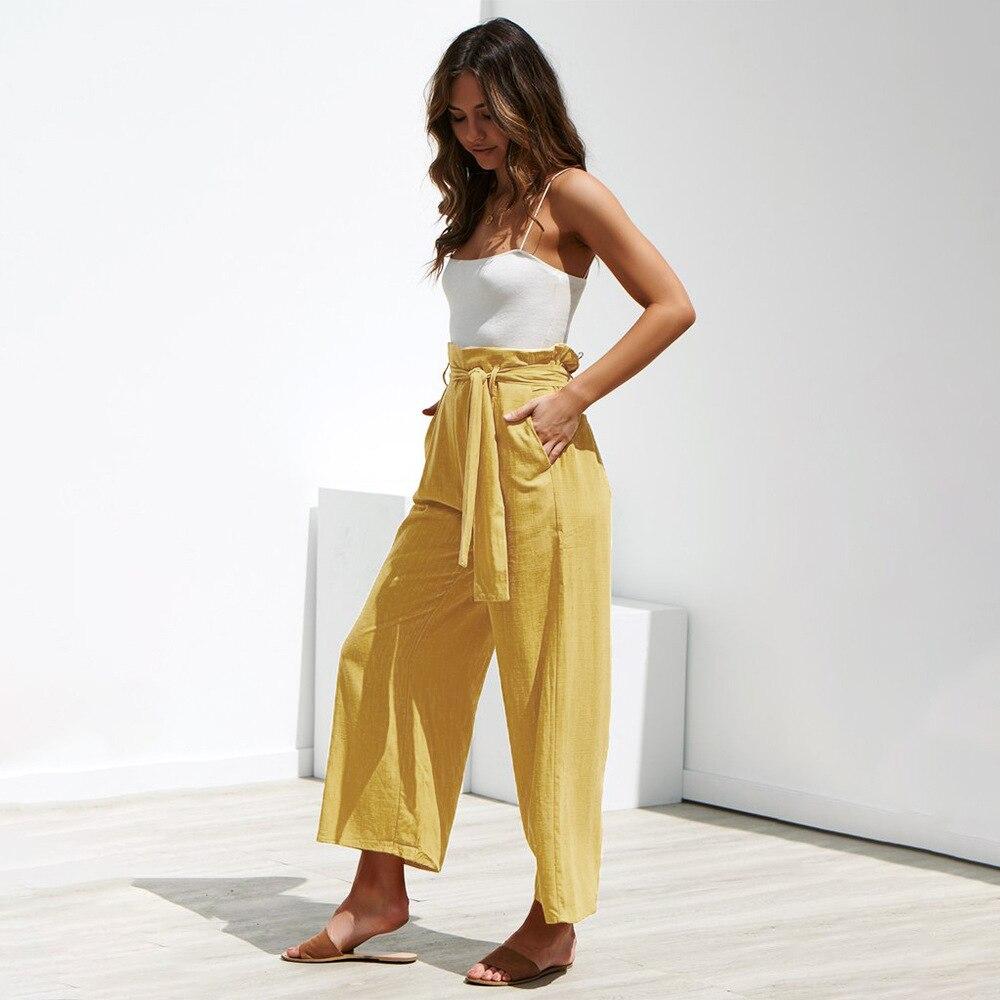 Casual Cotton Linen High Waist Wide Leg Pants 20