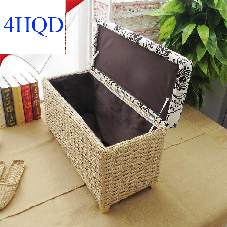 Hall Shoes Stool Can Sit People Vine Straw Storage Storage Stool Children Toy Storage Box Foot Sofa Stool