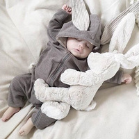 New Baby Rabbit Ear Romper 0 18M Boys Girls Lovely Cotton Clothes Infant Kids Soft High