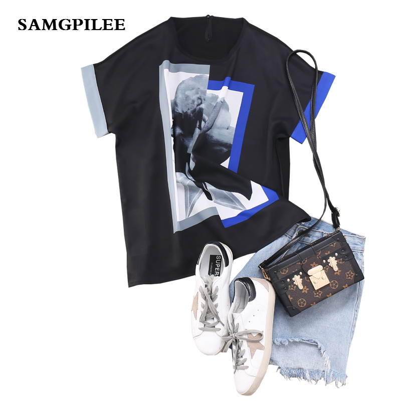 Kpop Top Polyester Unicorn 2019 New Summer Casual Chiffon Sleeve Appliques Print O neck Women T shirts L 3xl in T Shirts from Women 39 s Clothing
