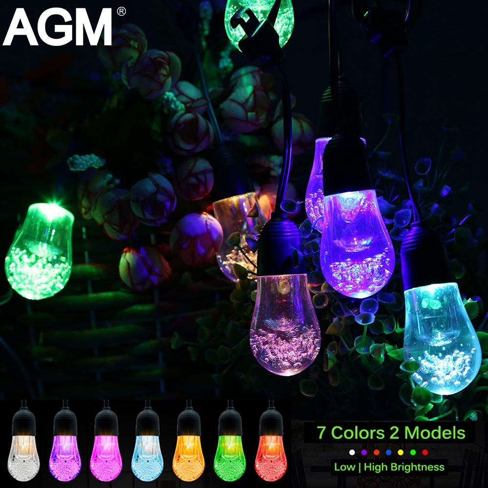 AGM 5M 12 Bulbs Solar Powered String Light LED Fairy String Lights Christmas Wedding Party Decoration Lamp For Outdoor Garden solar powered 0 64w 10lm 200 led blue light garden christmas party string fairy light blue 20 5m