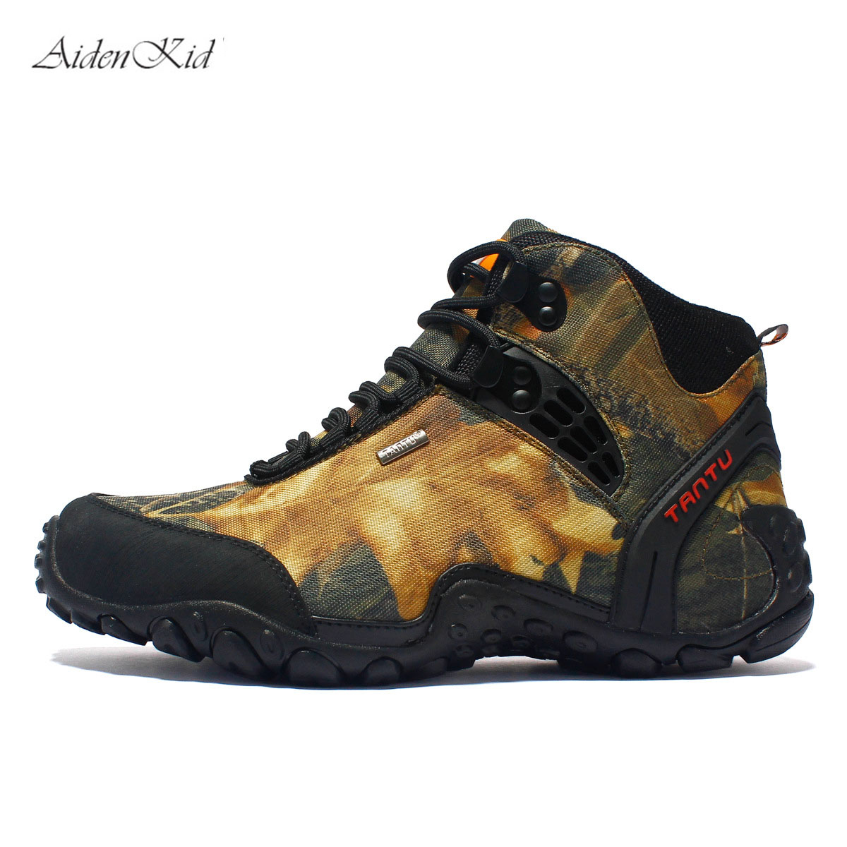 Spring and summer new men's casual shoes outdoor shoes high to help walking shoes men's hiking shoes large size