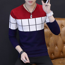 Fall 2017 new v-neck color matching men's sweaters Checked sweater long-sleeved stripes