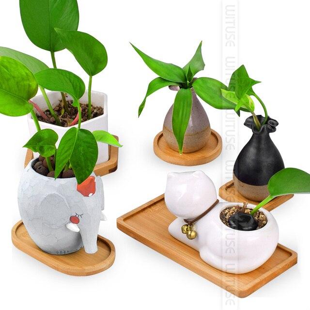 Charmant WITUSE Cheap Desktop Bonsai Pots Bamboo Stand Flower Planters Tray Gardening  Accessories Mini Glazed Ceramic Flowerpot