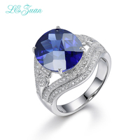 I&zuan Real 925 Sterling Silver Jewelry Ring Prong Setting Sapphire Blue Stone Cluster Gems Luxury Rings For Women R0043 W02