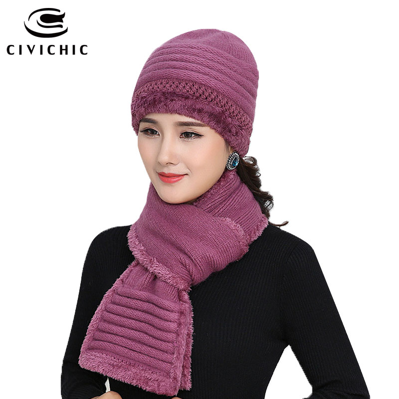 CIVICHIC Old Bonnet Warm Set Crochet Hat Scarf with Velvet Woman Knit Headwear Thicken Cap Grandma Gift Twist Fleece Shawl SH161