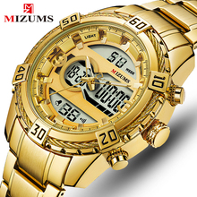 MIZUMS Mens Sport Watch Men Gold Quartz Watches Men Date Waterproof Full Steel Military Clock Wrist Watches relogio masculino все цены