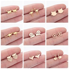 Lovely Cute Children Baby Earrings Kitty Cat Crane Snail Kangaroo Animal Fashion Statement Jewelry Strawberry Women Stud Earring(Hong Kong,China)