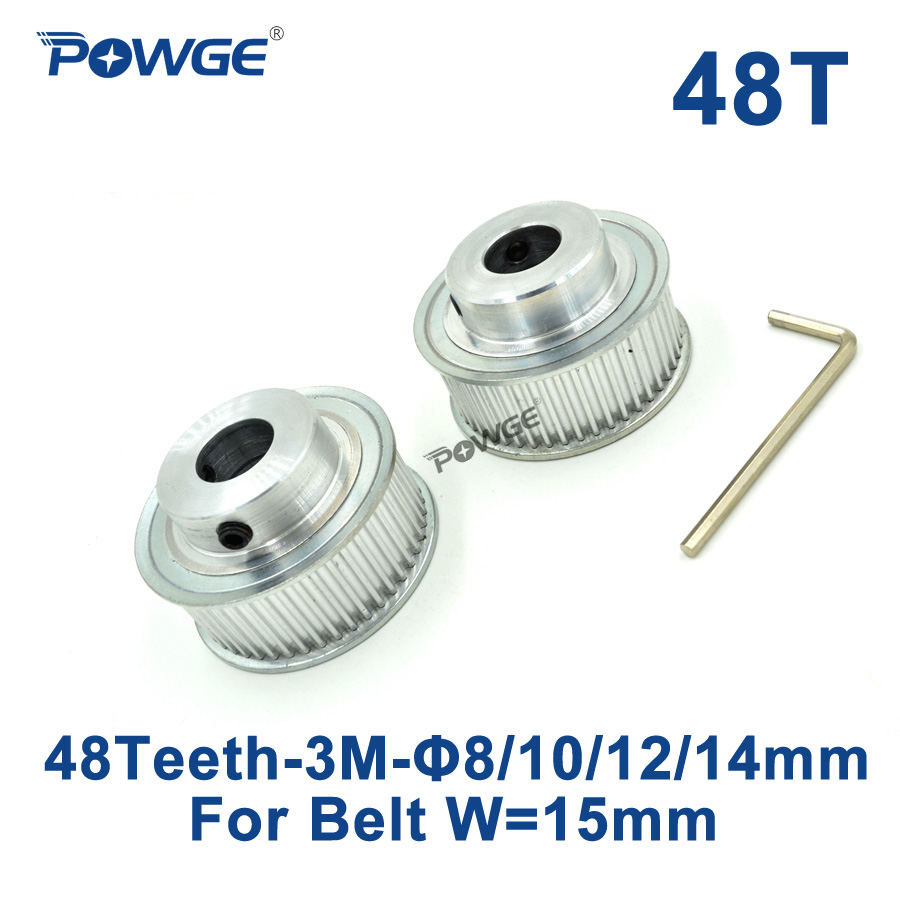 POWGE 2pcs 48 Teeth HTD 3M Synchronous Pulley Bore 8mm 10mm 12mm 14mm for Width 15mm 3M Timing belt HTD3M pulley 48T 48Teeth powge 1pcs steel 18 teeth htd 3m timing pulley bore 8mm for width12mm 3m timing belt rubber htd3m pulley belt tooth 18t 18teeth