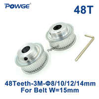 POWGE 2pcs 48 Teeth HTD 3M Synchronous Pulley Bore 8mm 10mm 12mm 14mm for Width 15mm 3M Timing belt HTD3M pulley 48T 48Teeth