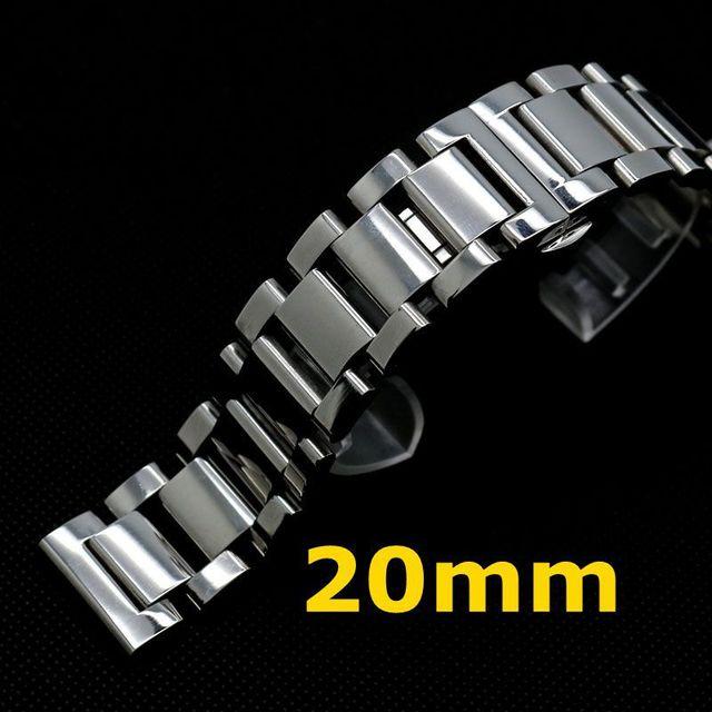 20mm Banda Strap Pulseira de Prata de Aço Inoxidável Sólido Links Implantação buckle botão Para Mulheres Homens Relógio de Pulso GD014520