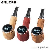 Anlerr Wooden E Pipe PipeVape Dry Herb Vaporizer Electronic Cigarette 1100mAh TC Herbal Vape Kit with Ceramic Chamber OLED Ecig