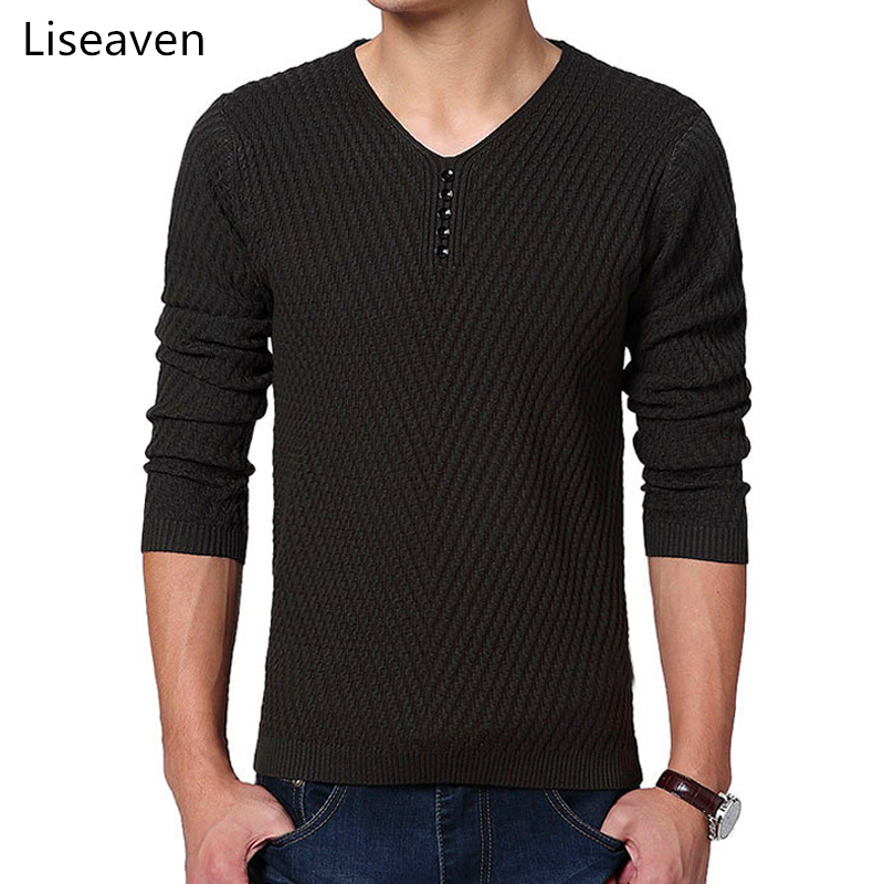 Liseaven Autumn Winter Men's Solid Color Sweater V-Neck Pullovers Mens Pull Homme Clothing Men Sweaters