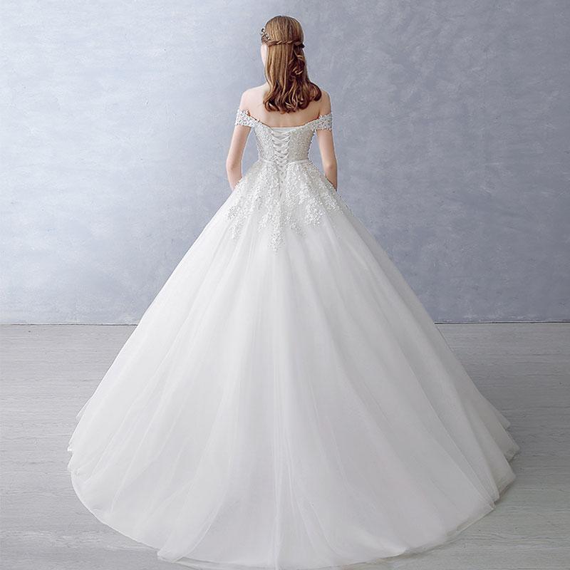 2018 Bollkjole Brudklänning Vintage Muslim Plus Storlek Snörning - Bröllopsklänningar - Foto 4