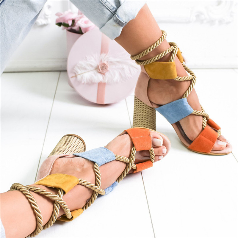 BLUE Bohemian Summer Wedge Sandals Women Pointed Fish Mouth Lace Up Platform Shoes