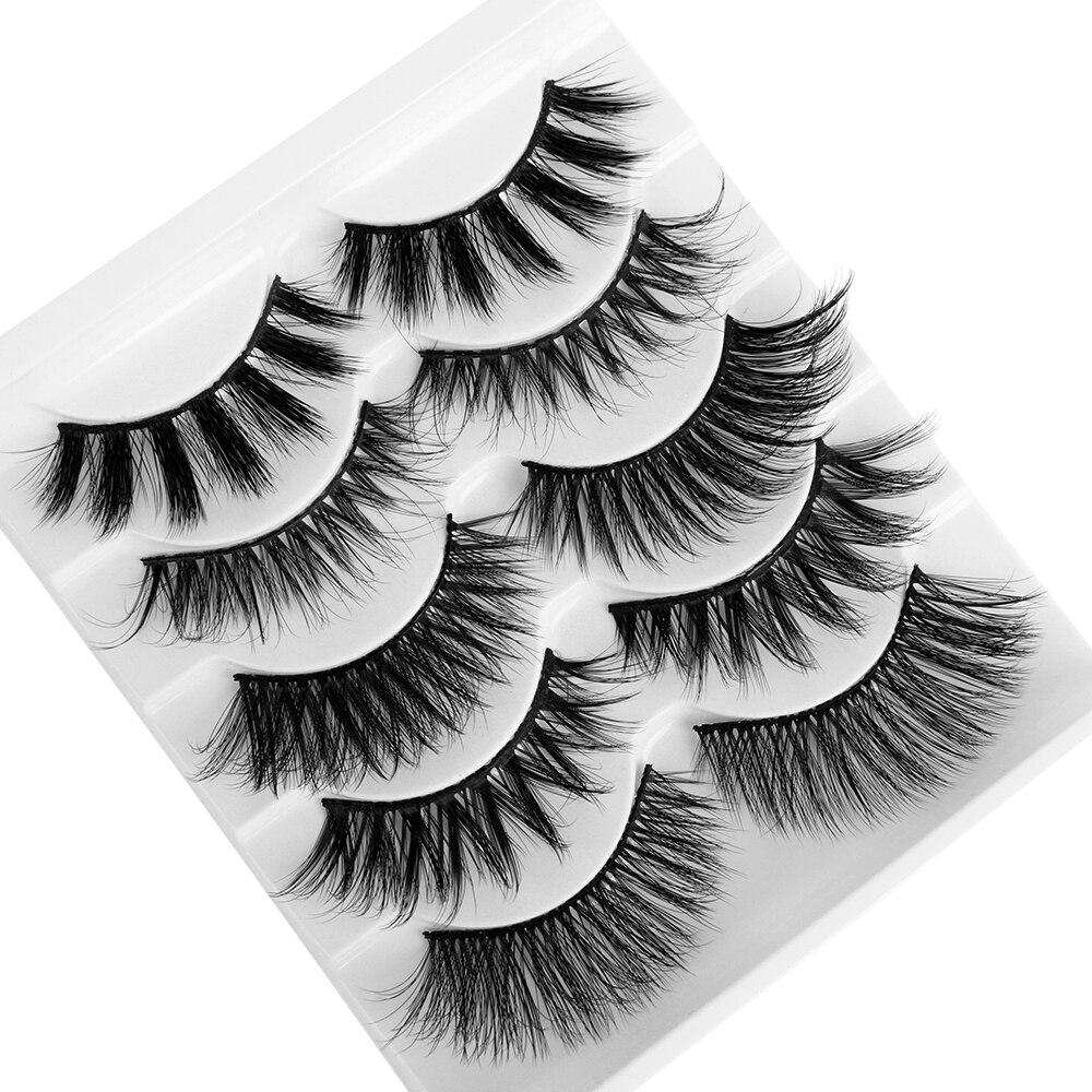5 Pairs 3D Mink Hair False Eyelashes Mixed Styles Wispy Full Volume Natural Handmade Lashes Feathery Flared Variety Lashes