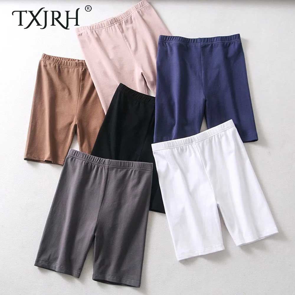 TXJRH Sexy Cotton Fitness Packege Hips Short Leggings High Waist Elastic Slim Sports Running Yoga Tight Leggings Shorts 6 Colors