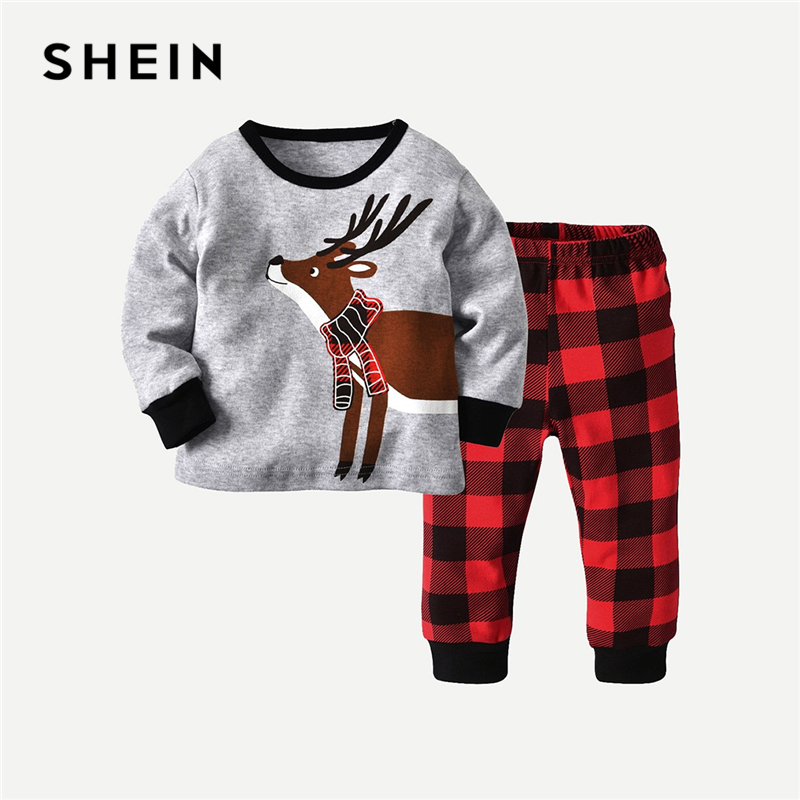 SHEIN Toddler Boys Cartoon Print Casual Tee With Plaid Pants Kids Clothing 2019 Spring Fashion Long Sleeve Boys Kids Clothes double breasted plaid blazer romper with belt