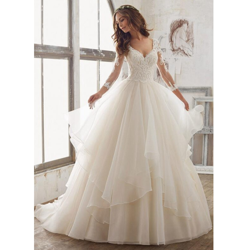 Organza Wedding Gowns: 2017 Exquisite V Neck Long Sleeves Illusion Back Wedding