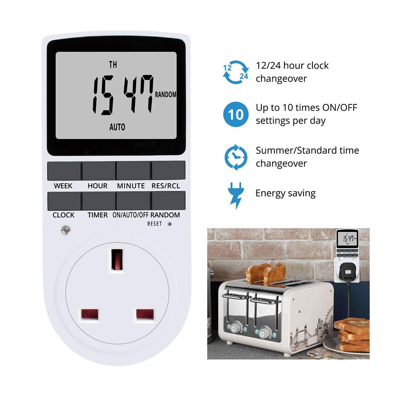 ABHU-Uk штекер цифровой таймер розетка, Электрический программируемый штекер таймер переключатель для светильник, B и многое другое, с большим ЖК-дисплеем Dis