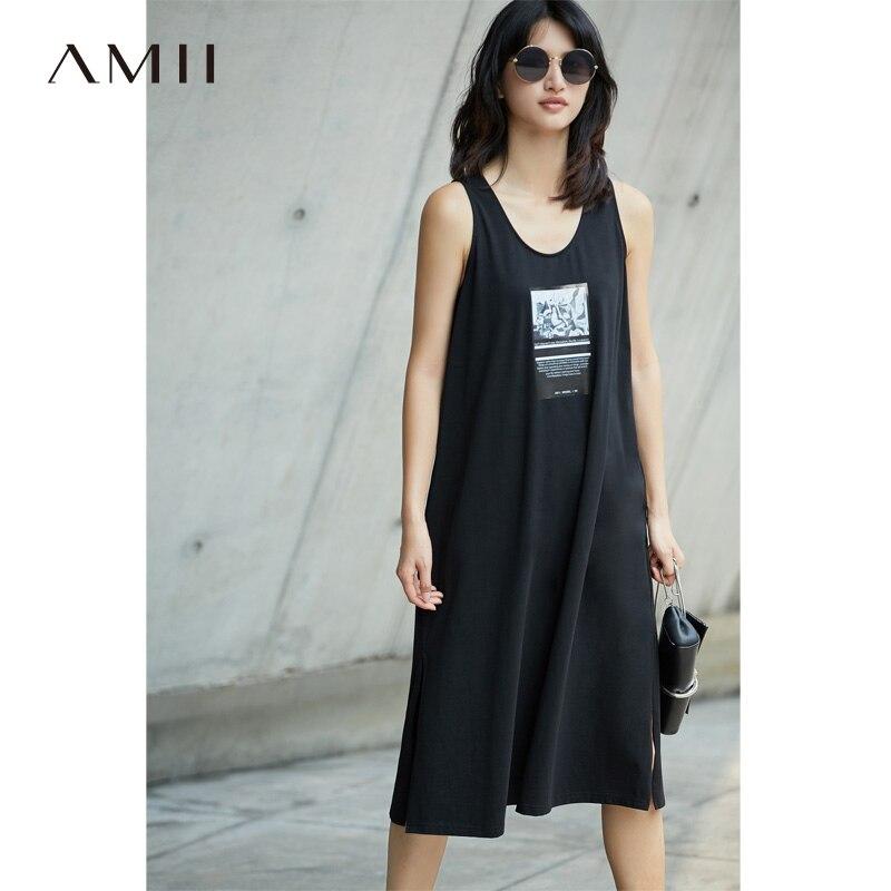 Amii Casual Women Dress 2018 Summer A-Line Print O-Neck Sleeveless Mid-Calf Dresses