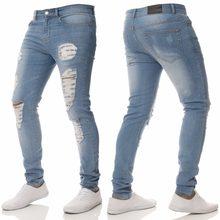 Envmenst 2018 Nuevos hombres de Moda Casual Estiramiento Flaco Pantalones  de Mezclilla Ajustados Pantalones Vaqueros Del Agujero. 2d54f28126d