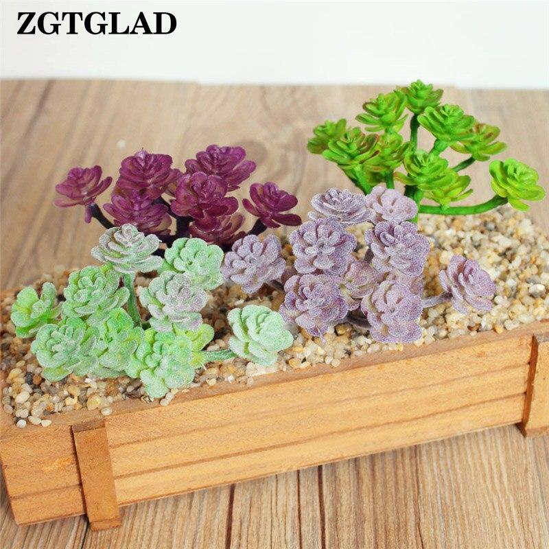ZGTGLAD 1pcs Fake Flower Artificial Plants Succulents Lotus Grass Leaves Landscape Simulation Plant Home Office Decoration