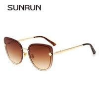SUNRUN Fashion Vintage Cat Eye Women Sunglasses Oversize Rimless Flower Sun Glasses Gradient Coating Mirror Eyewear Oculos t7019