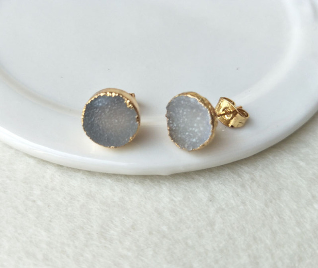 stud faux earrings gunmetal druzy post listing studs metallic gemstone cactuslanejewelry