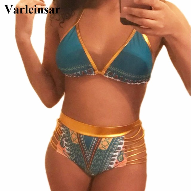 75e225094ad70 Bather Bikini S-3XL African women Large plus size swimwear two piece swimsuit  high waist