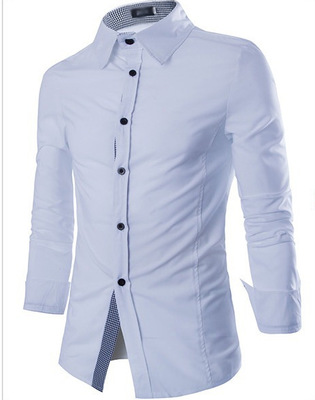 Euro And US Fashion Men Shirt Collar Plaid Shirt Long-Sleeves Men's Summer Casual Slim White Shirts xc18C52