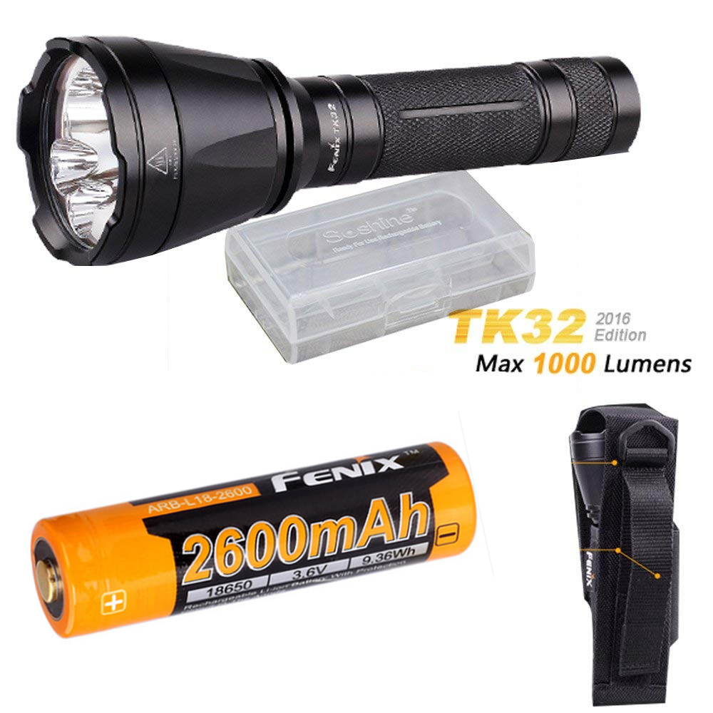 Fenix TK32 2016 CREE LED 1000 Lumen built in Red, Green Lights and dual tail switch tactical Flashlight + ARB-L18-2600 battery