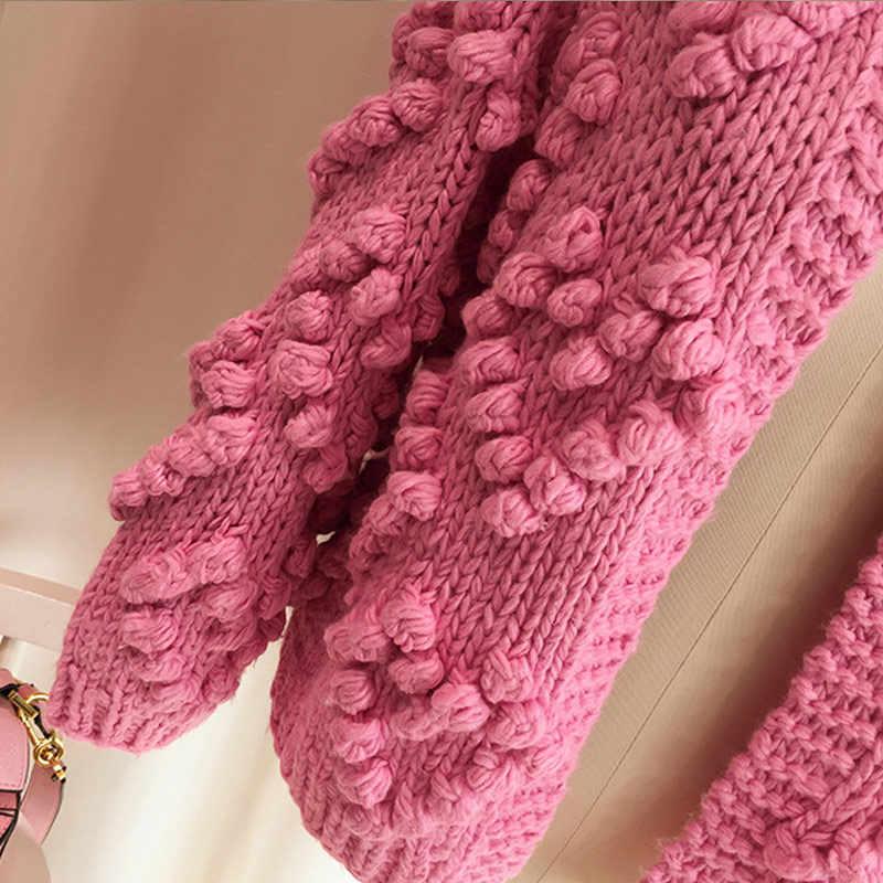 ZDFURS * Hairball вязаный кардиган Повседневное Круглая горловина Длинные рукава Розовый кардиган джемпер 2018 осень зима свитер для женщин