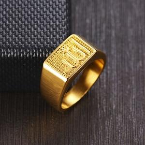 Image 2 - Insha Allah Signet Ring Stainless Steel Metal Ring for Men Arabic Persian Rings