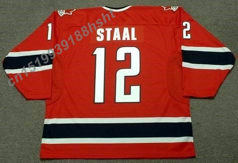 12 ERIC STAAL Red Throwback Customized Ice Hockey Jersey Stitched Jerseys Top Quality S-3XL