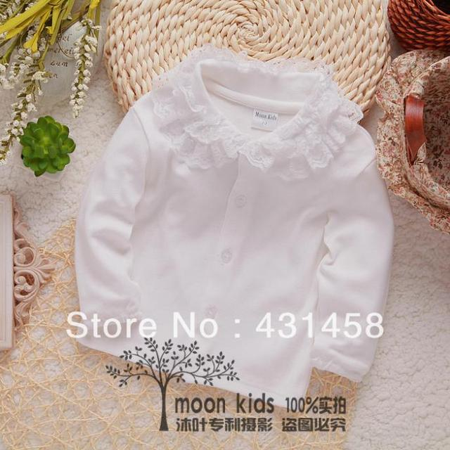 Бесплатная доставка 2017 весна осень кружева отложным воротником рубашки, хлопка с длинными рукавами рубашки, детские белый основной рубашка