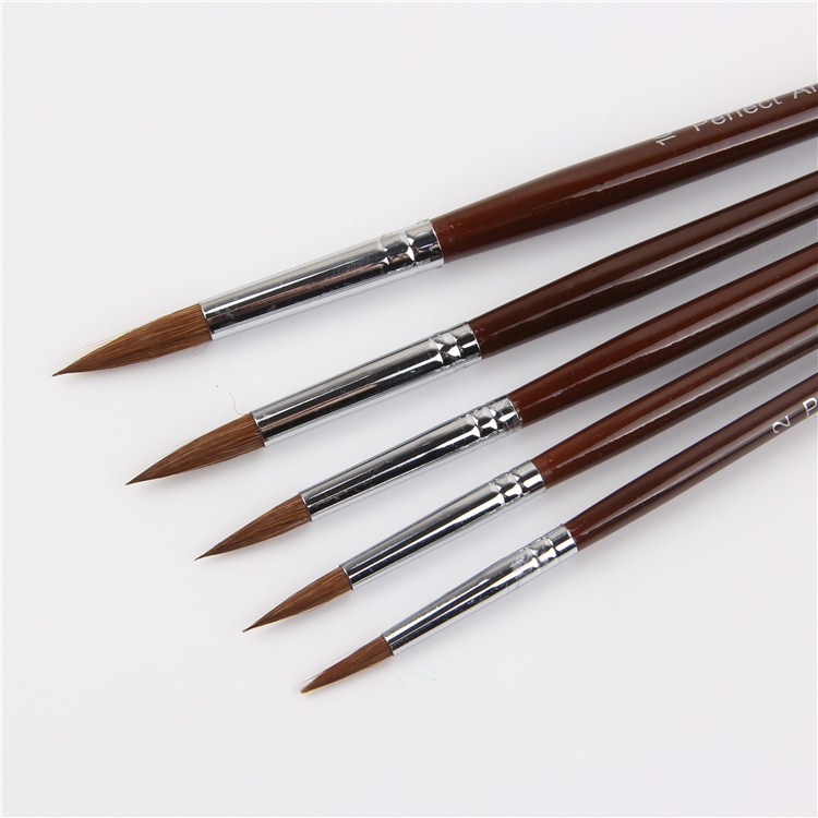 5Pcs Long Handle Filbert Shape Brass Ferrules Weasel Hair Watercolor Painting Brushes Artist Oil Painting Brushes Painting Set