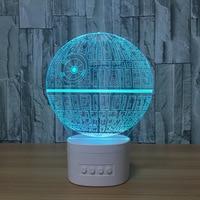 3D Night Lights Star Wars Bluetooth Speaker Music Lamp Death Star 5 Color Change Acrylic Table lamp Baby Bedroom Light