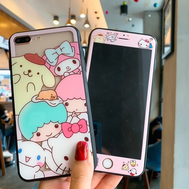finest selection a1844 deb7e US $4.99 30% OFF|Tempered Glass Screen Protector for iphone 6 6s 7 8 Plus X  XS Max XR +Sanrio Cartoon Twin star Melody Kitty Cat Glass Phone Case-in ...