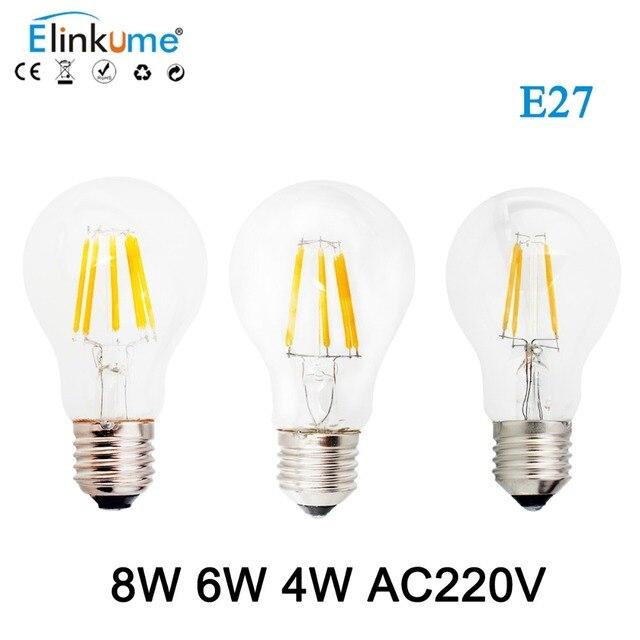 Elinkume E27 светодиодный ламп накаливания 4 Вт 6 Вт 8 Вт Светодиодный светильник 220 V лампочки Globe для Винтаж люстра Стекло лампа освещения bombillas лампа