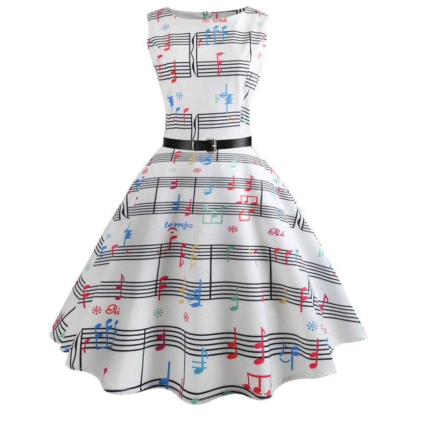 Chamsgend Brand New Music Melody Print Dress Women Retro Sleeveless Tunic Large Swing Elegant Dress with Belt 80413
