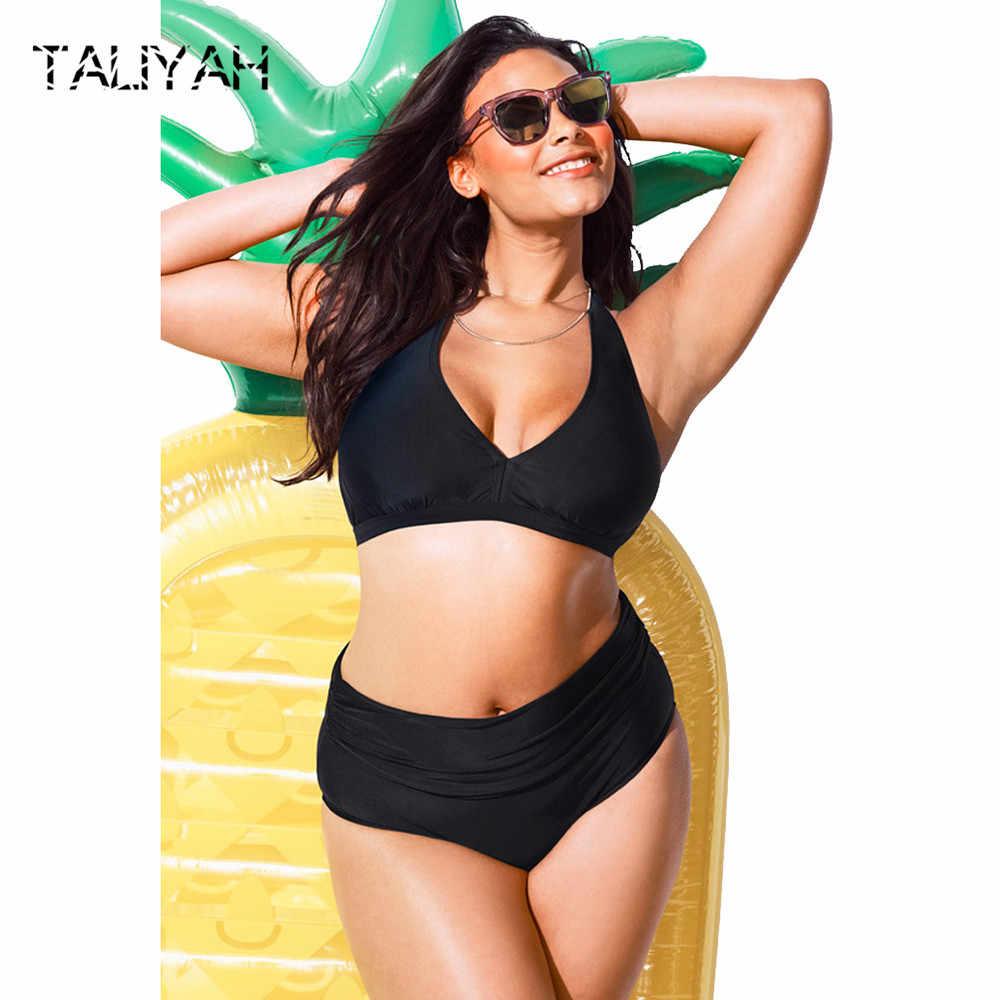 ba81abcd60 2019 bikini bandage swimsuits hanging neck bikini set high waist sexy  swimming suits plus size swimsuits