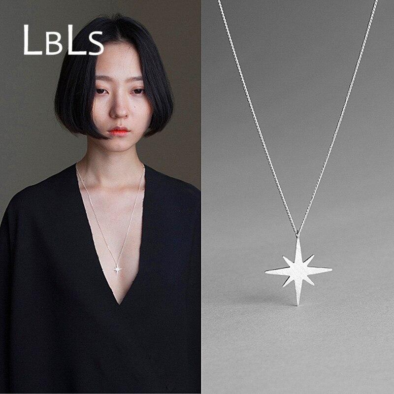 LBLS 925 collier Long en argent Sterling étoile collier Long chaîne sterling-argent-Bijoux colliers et pendentifs pour femmes Bijoux