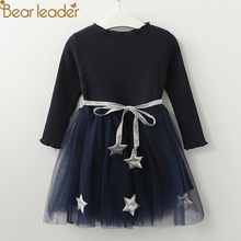곰 지도자 Girls Dress 오각형 공주 Dress Brand Girls 옷 Children Clothing European 및 American Style Girls 드레스(China)