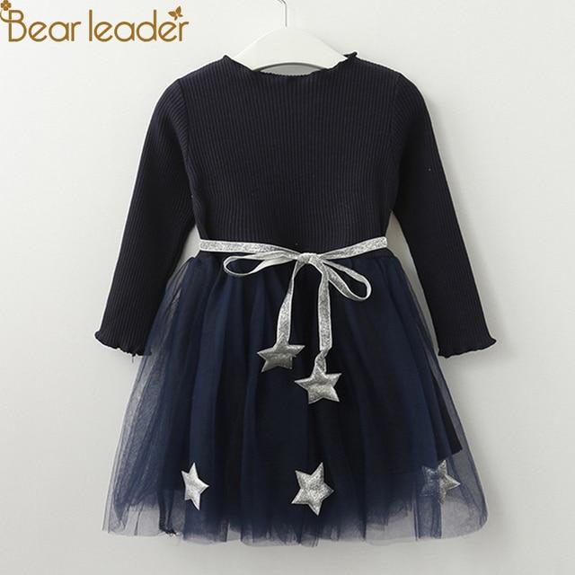 Bear leader/платье для девочек, платье принцессы с пентаграммой, брендовая одежда для девочек, детская одежда, платья для девочек в европейском и американском стиле